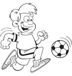 Cartoon boy playing soccer vector image vector image
