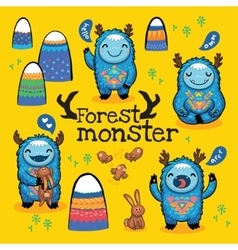 cartoon funny monsters set vector image