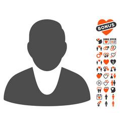 Client icon with valentine bonus vector