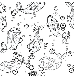 Coloring antistress with fish vector image vector image