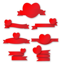 Cute red heart with ribbon vector image vector image