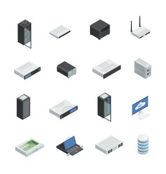 data center icon set vector image vector image