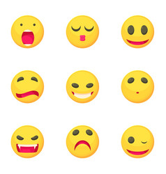 different emoticons icons set cartoon style vector image