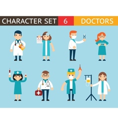 Doctor and nurse characters madical icon set vector