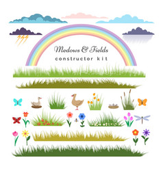 fields constructor kit for cartoon landscape vector image vector image