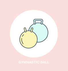 Fit ball icon line logo flat sign for gymnastics vector