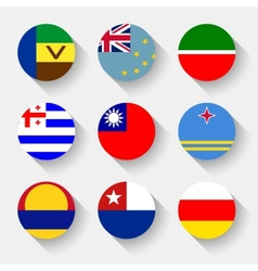 Flags of the world round buttons vector image