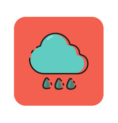 flat color rainy icon vector image