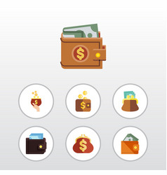 flat icon billfold set of pouch money payment vector image vector image