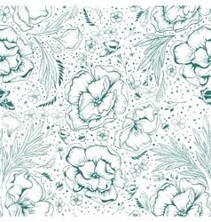 Green flowers seamless floral background vector
