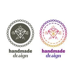 hand made design labels - hand craft emblems vector image