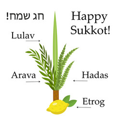 Happy sukkot set educational icons with vector