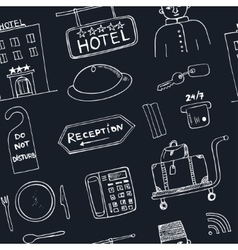 Hotel seamless pattern doodle sketch vector