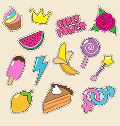 Ice cream princess crown and candy lollipop vector