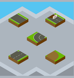 Isometric road set of upwards rotation repairs vector