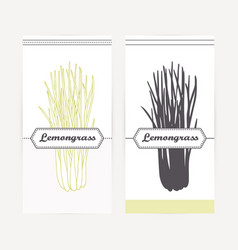 Lemongrass in outline and silhouette style vector