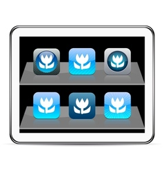 Macro blue app icons vector