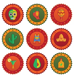 mexican badges vector image vector image