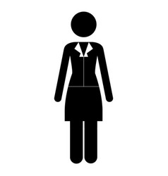 Monochrome pictogram of business woman in dress vector
