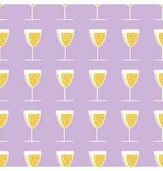 New year pattern with a glass of champagne on vector