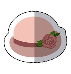 Pink bowler hat with lace roses retro design vector