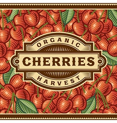 Retro cherry harvest label vector