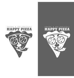 Set of monochrome pizza logos vector