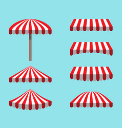 Set of red white tents isolated on sky background vector
