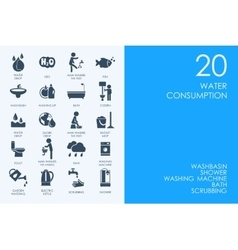 Set of water consumption icons vector