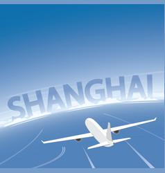 Shanghai skyline flight destination vector