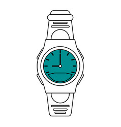 Sketch color silhouette of sport male wristwatch vector