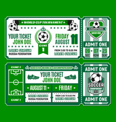 Soccer ticket template of football cup tournament vector