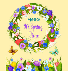 Spring flowers wreath greeting card vector