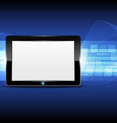 Tablet computer with technology background vector image
