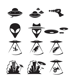 Ufo icons vector image