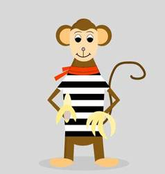 Cartoon monkey with banana vector