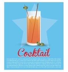 Cocktail glass ice olive star background vector