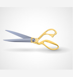 poster mock-up with golden scissors isolated on vector image