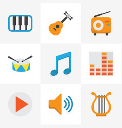 Music flat icons set collection of acoustic vector