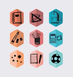 Inky black hand drawn hexagon school icons set vector