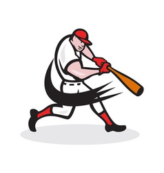 Baseball player batting isolated cartoon vector