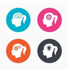 Head with brain iconfemale woman symbols vector