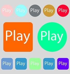 Play sign icon symbol 12 colored buttons flat vector
