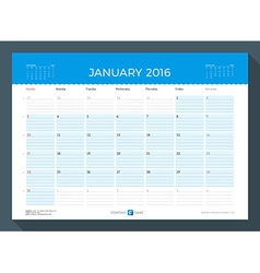 January 2016 monthly calendar planner for 2016 vector