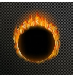 Set of realistic transparent fire flames on a vector
