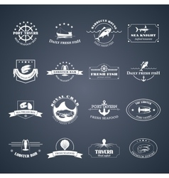 Set of seafood logos vector