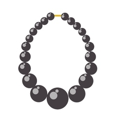 Black pearl necklace bead vector