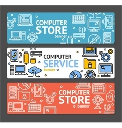 Pc service and shop banner horizontal set vector