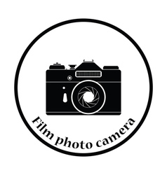 Icon of retro film photo camera vector