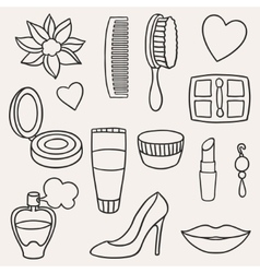 Beauty and fashion set of cosmetic accessories vector image vector image